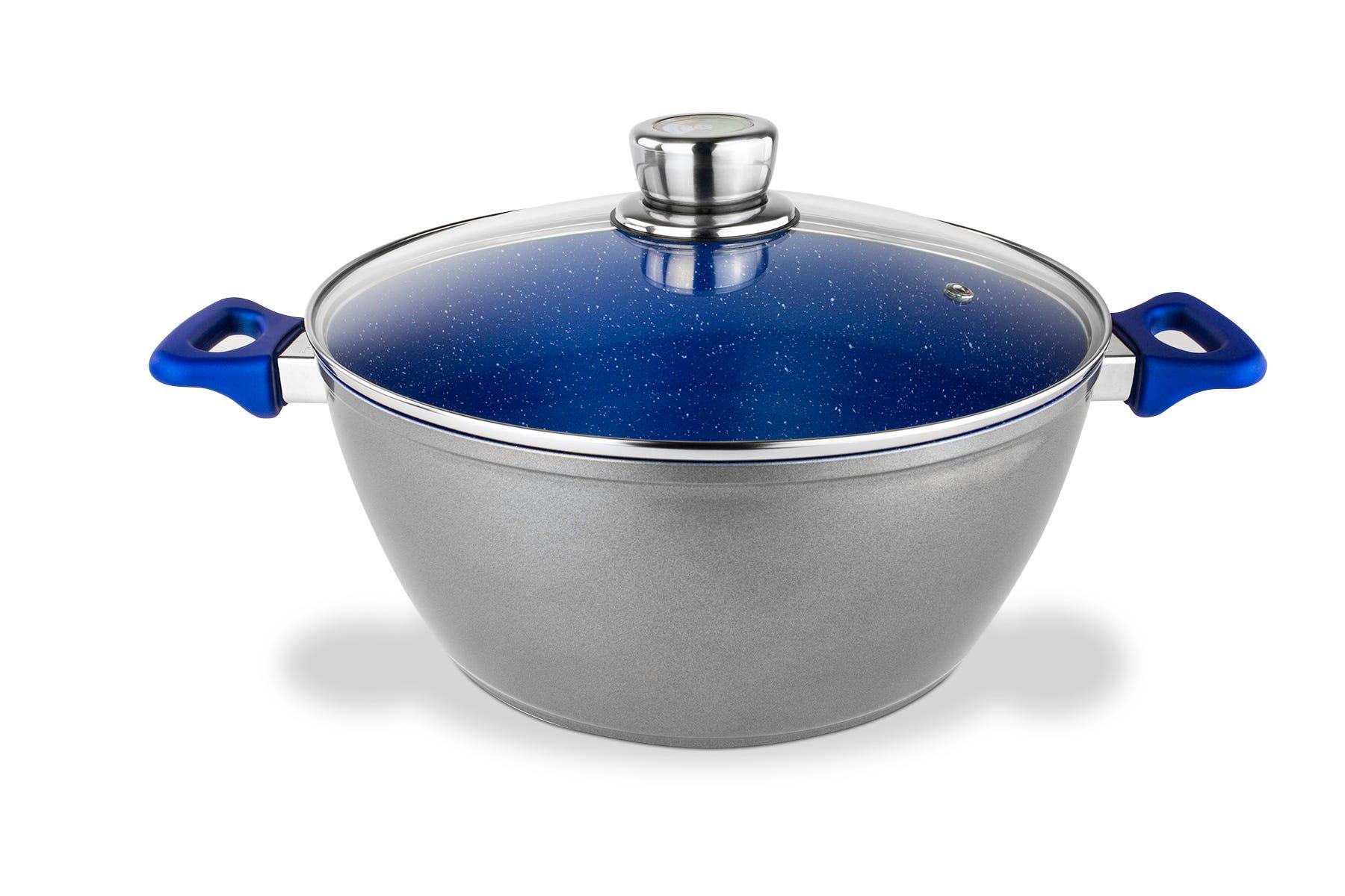 Cacerola de acero inoxidable con tapa Flavorstone® de 28 cm color azul