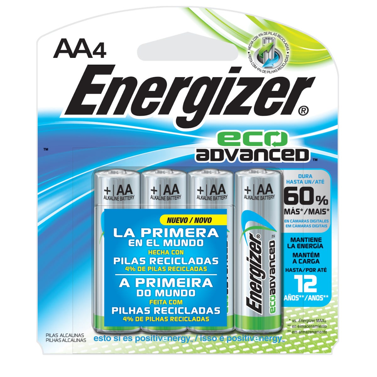 Pila alcalina de níquel Energizer Eco-Advance® AA, paquete de 4