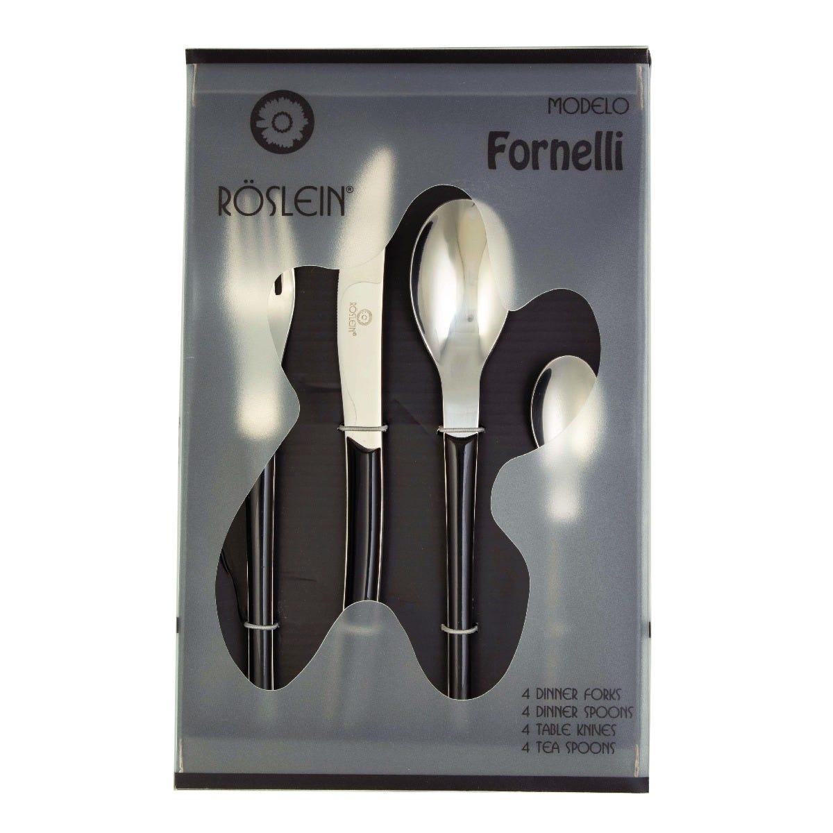 Set de cubiertos Roslein Fornelli negro 16 piezas