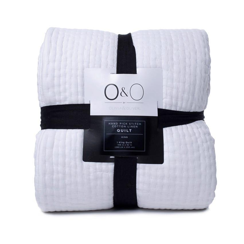 Edredón King  con diseño de rayas O&O by Olivia & Oliver™ en hueso