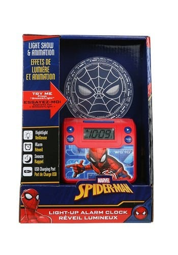 Reloj despertador Marvel® Spiderman™ con lámpara en rojo