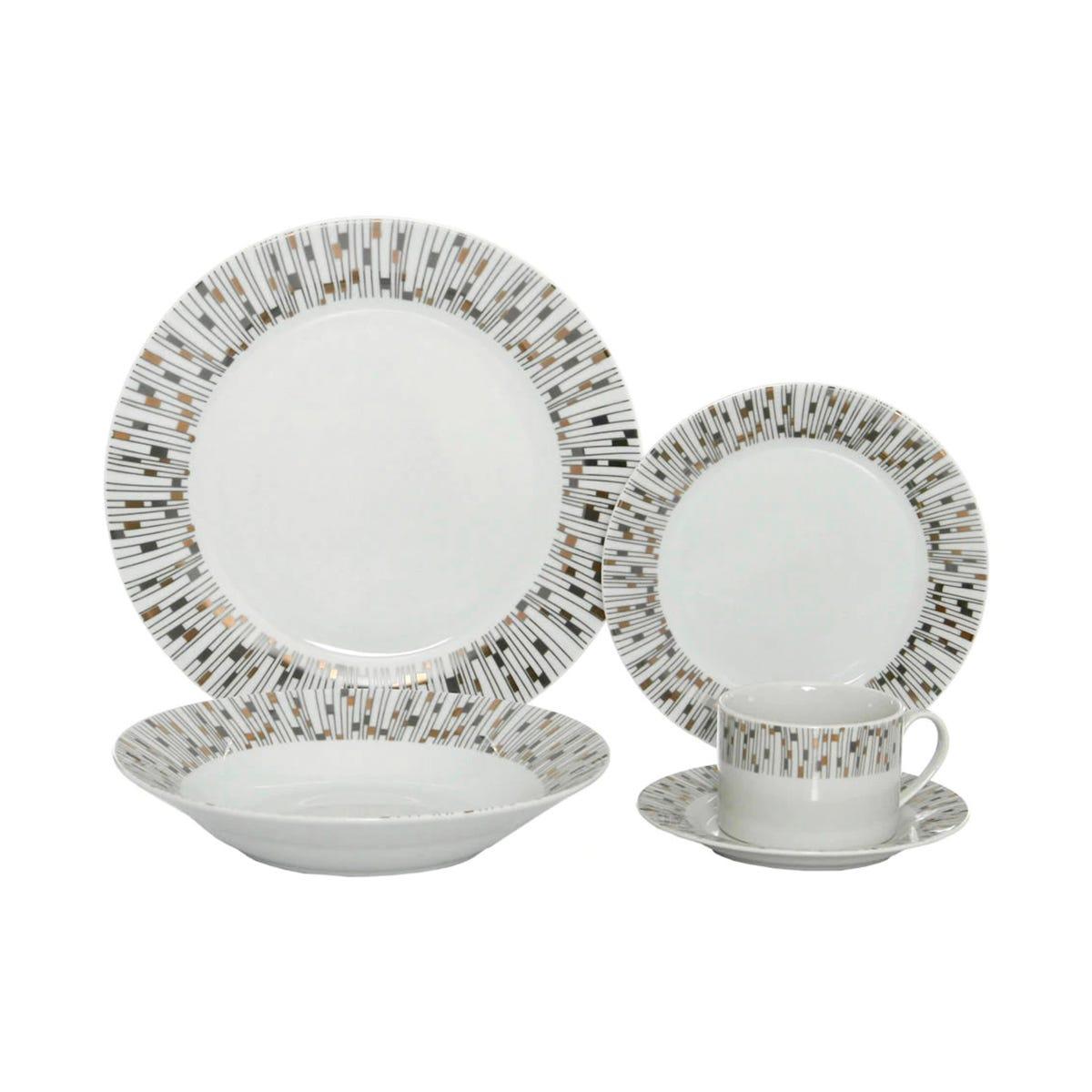 Vajilla Top Choice® Spark Redonda de Porcelana 20 piezas