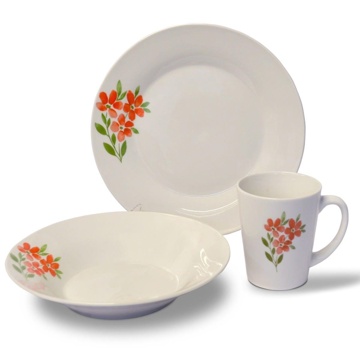 Vajilla Home Gallery® con Flores Rojas de Porcelana 12 piezas