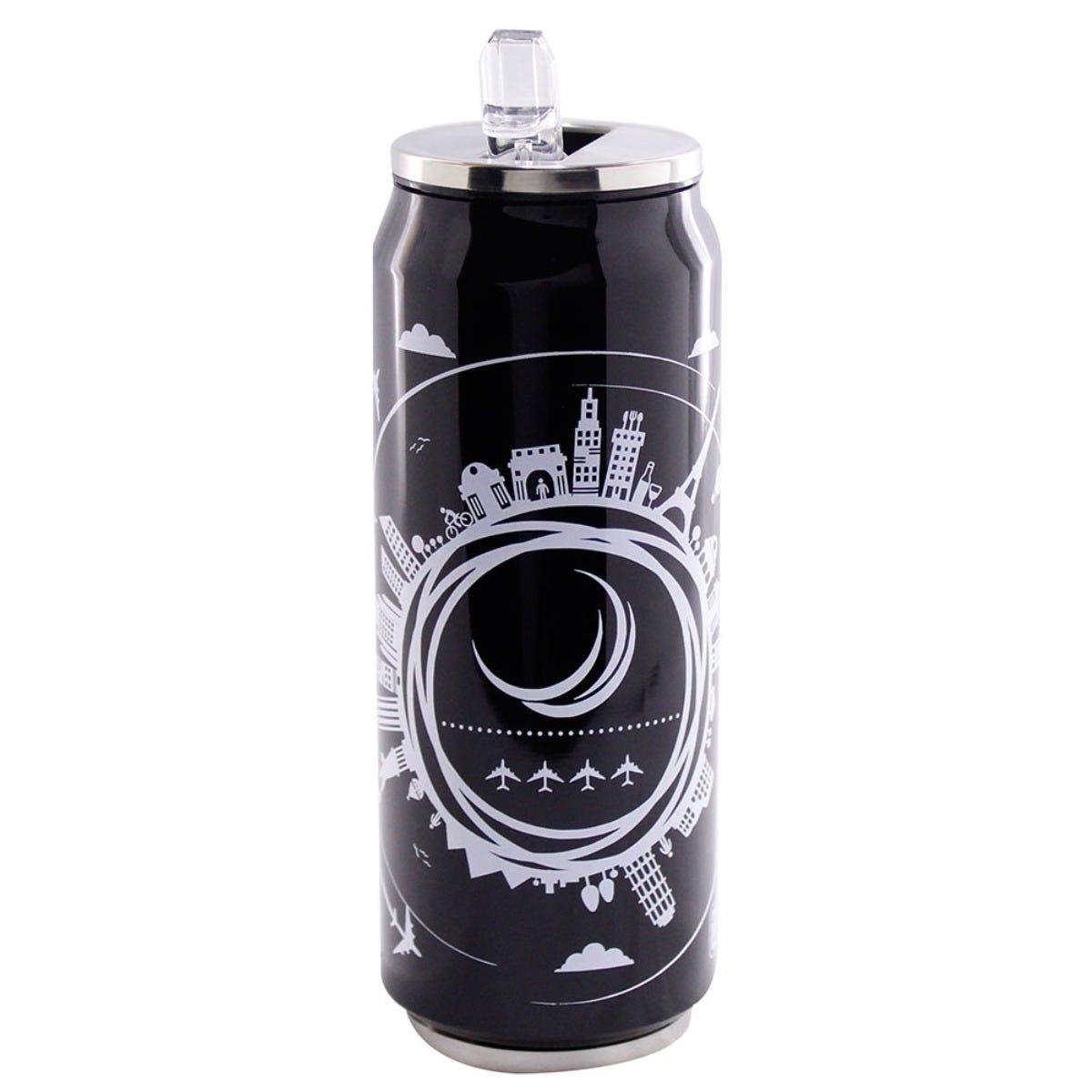 Termolata Running Decora® con Popote de 500 mL en negro