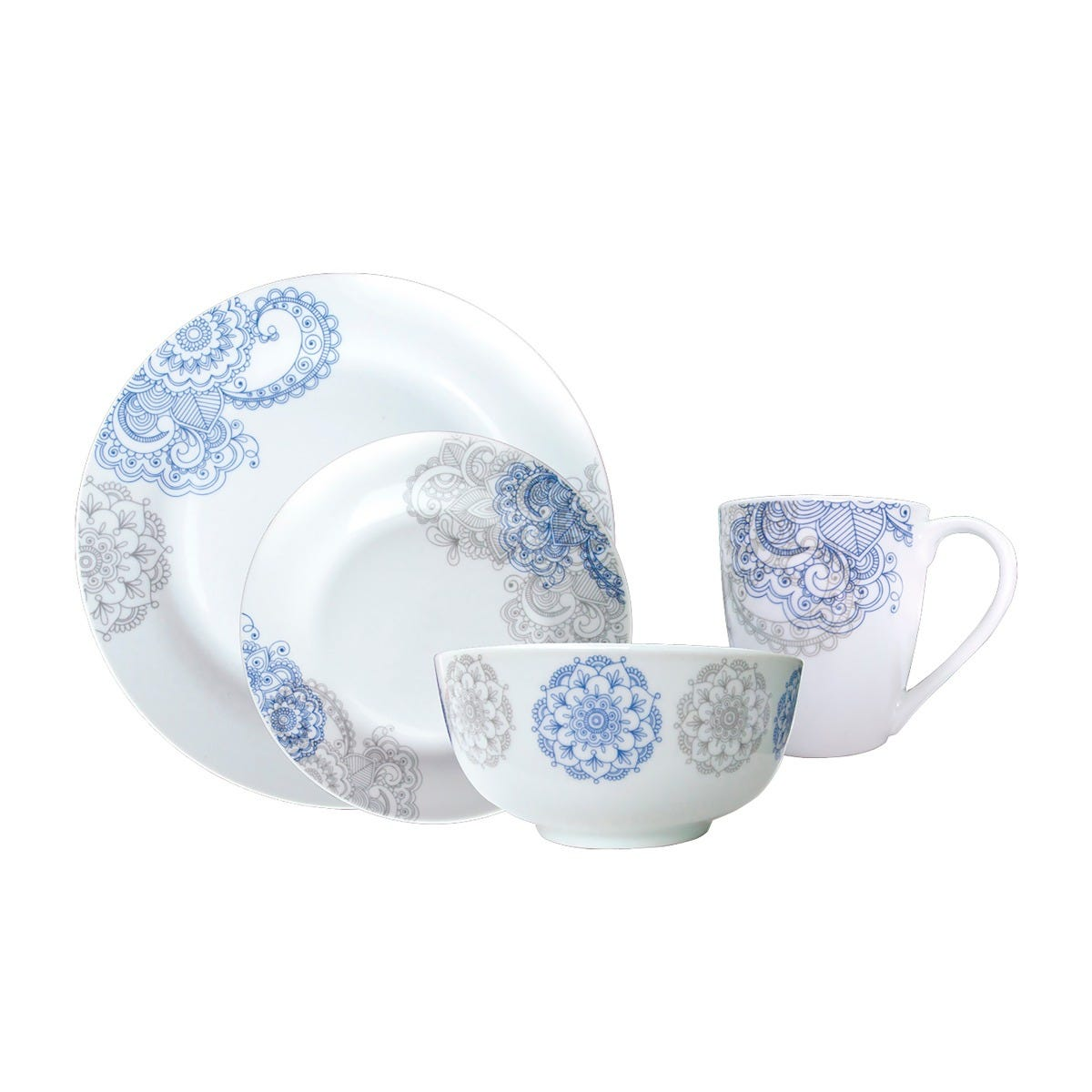 Vajilla Love and Lemons® Bohemio de Porcelana 16 piezas