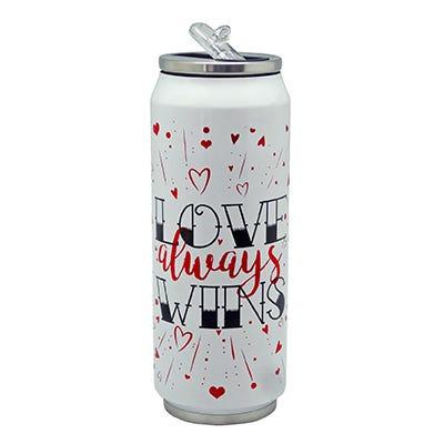 Vaso de acero inoxidable térmico Running Decora con frase Love Always Wins de 500 mL color blanco