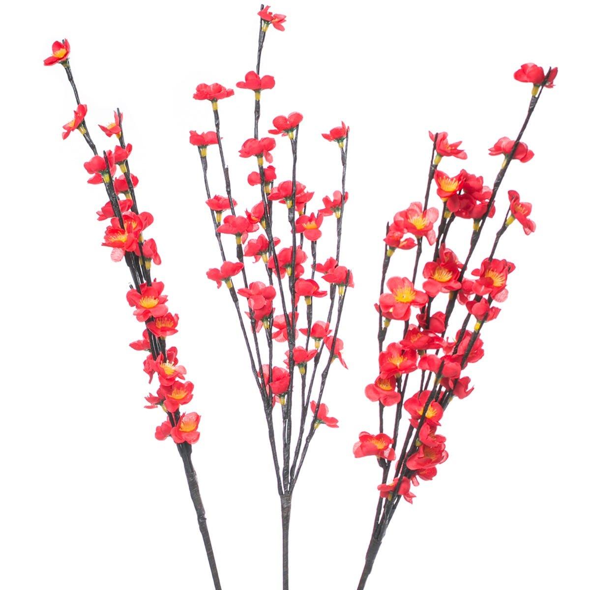 Figura decorativa de plástico Running Decora® con flores de ciruelo de seda rojo de 90 LEDS