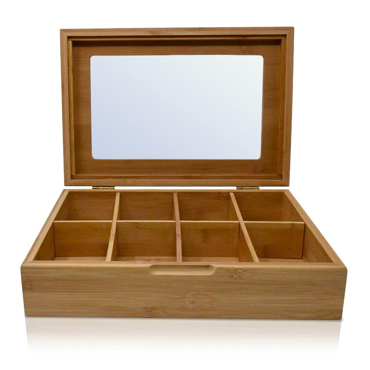 Caja para té de bambú Top Choice® de 8 compartimentos