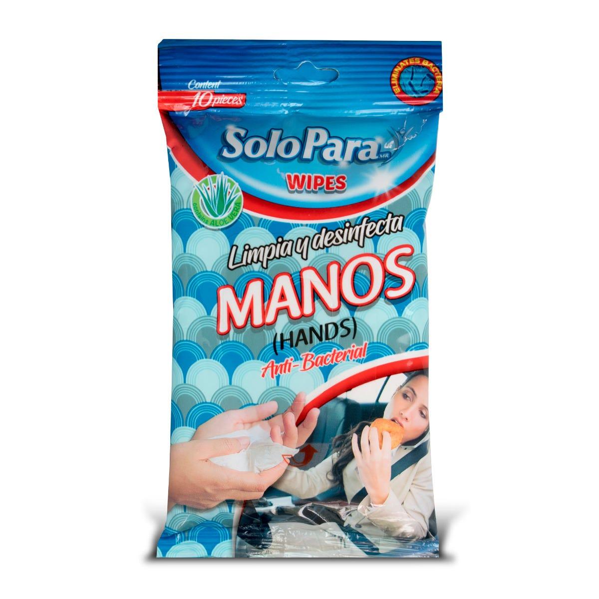 Toallas limpiadoras y desinfectantes para manos, 10 pzs