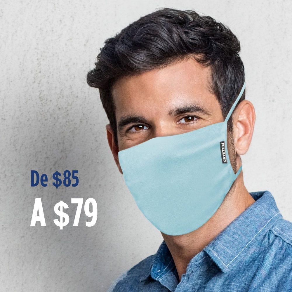 Tapaboca triple capa reutilizable FULLSAND® con filtro interno en azul claro