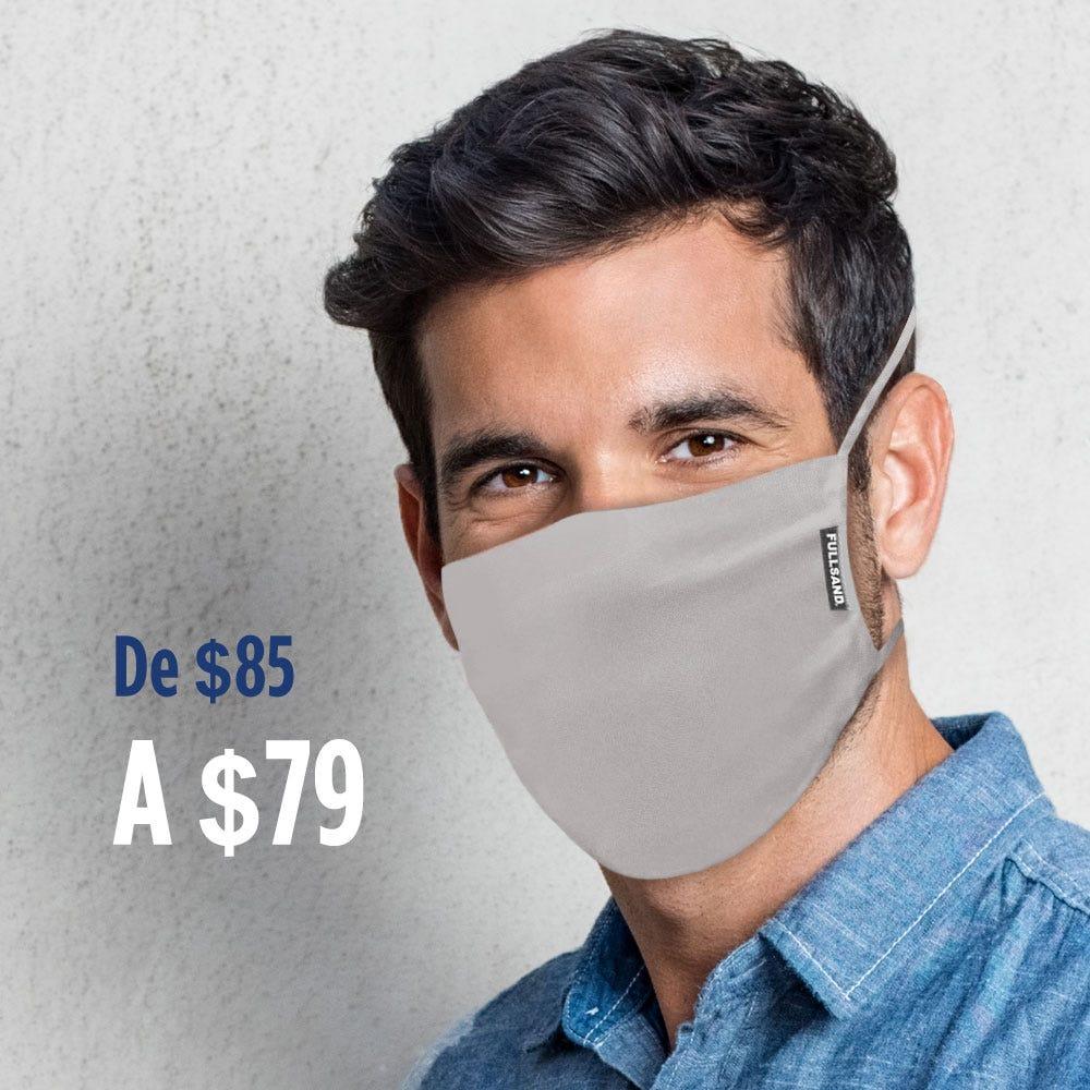 Tapaboca triple capa reutilizable FULLSAND® con filtro interno en gris claro
