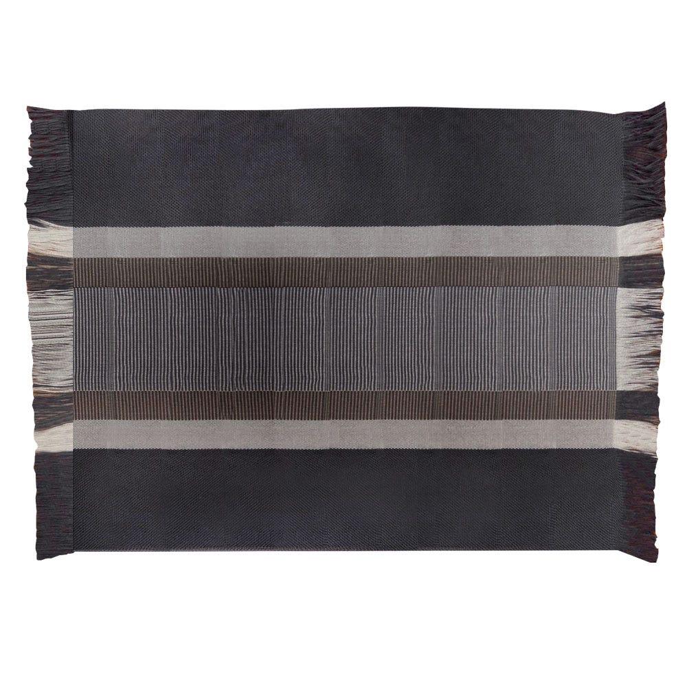 Mantel individual artesanal rectangular Despertar en gris y beige