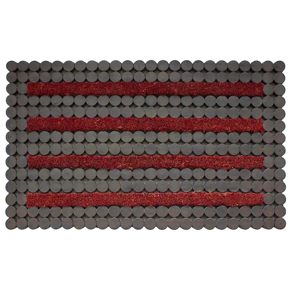 Tapete para entrada de caucho DIB Dots color gris/rojo