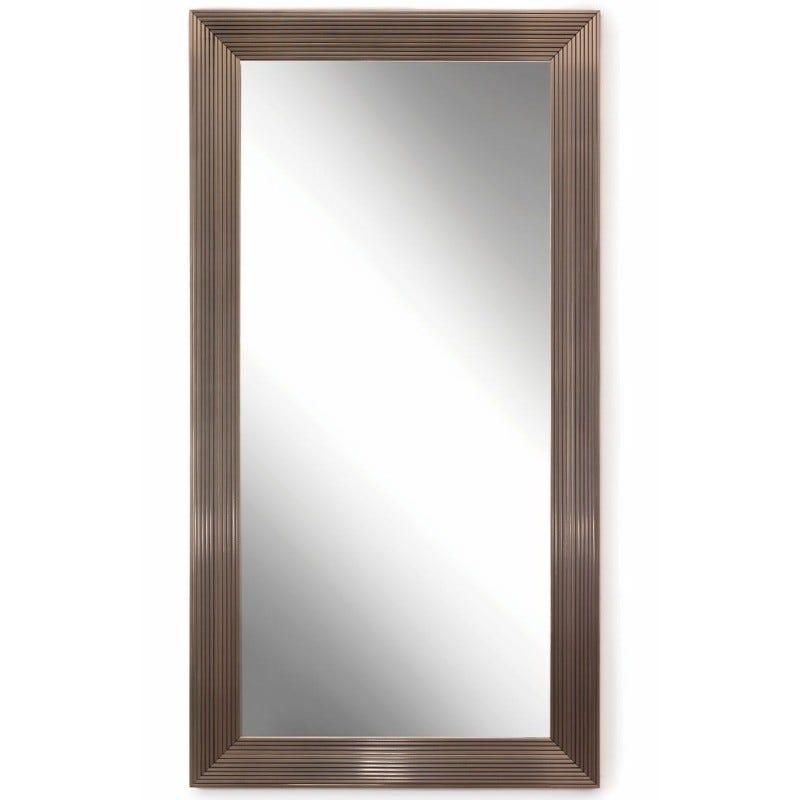 Espejo de piso con marco de poliestireno color plata