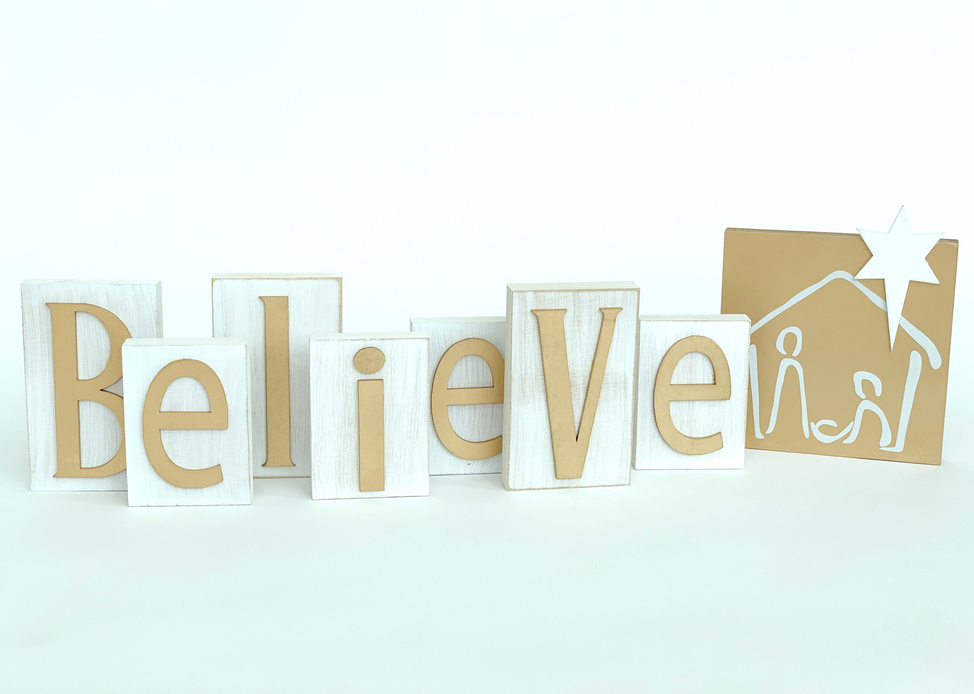 Letras Believe de madera