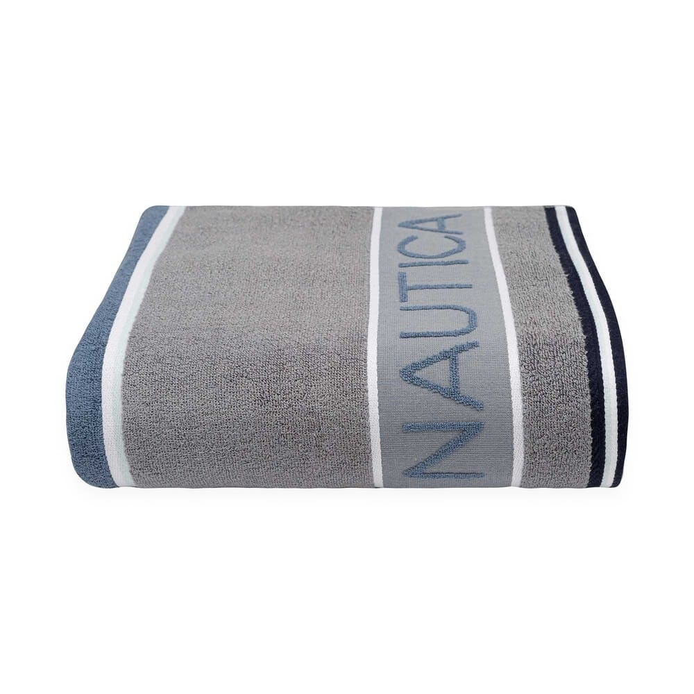 Toalla de medio baño de algodón Nautica® Radar color azul/gris