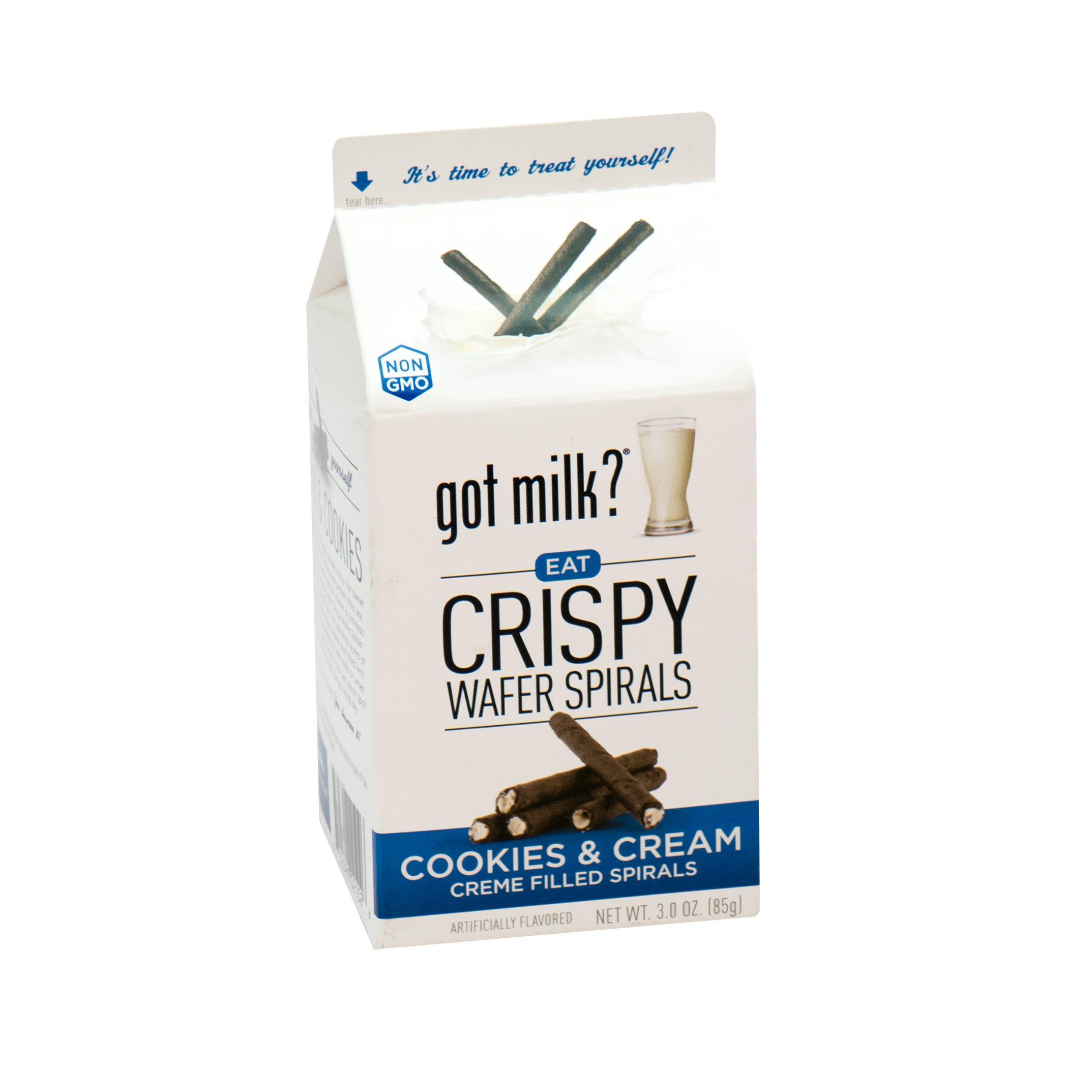 Espirales de galleta Got Milk® rellenos de cookies & cream de 85 g