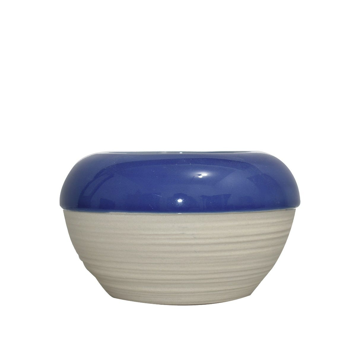 Maceta mediana de cerámica Casa Mejicu® redonda color gris y azul