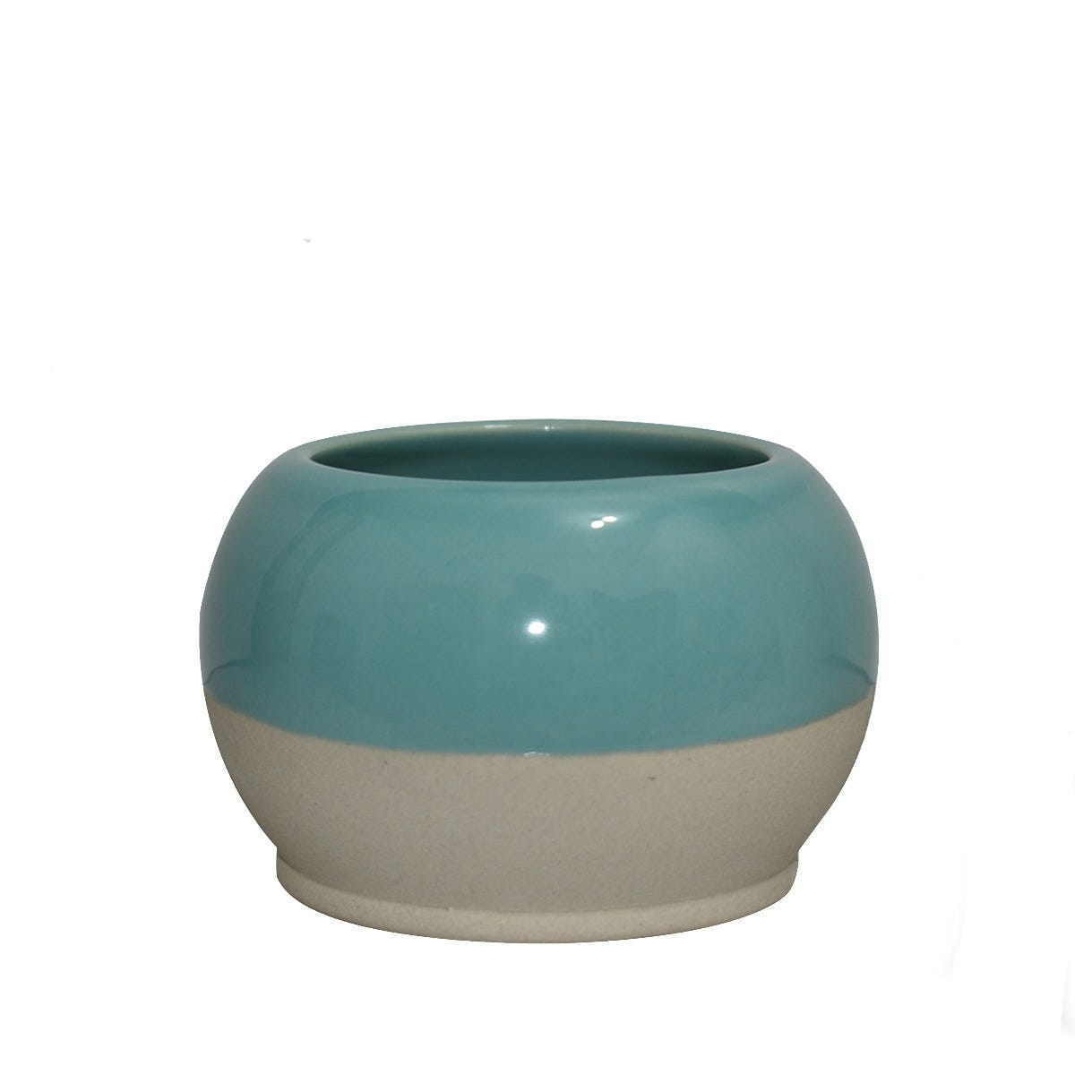 Maceta chica de cerámica Casa Mejicu® redonda color gris y azul