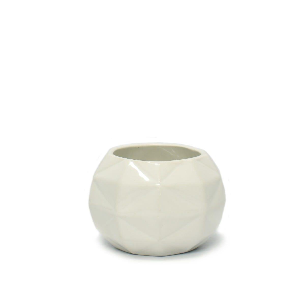 Maceta de cerámica Casa Mejicu® esfera geométrica color blanco