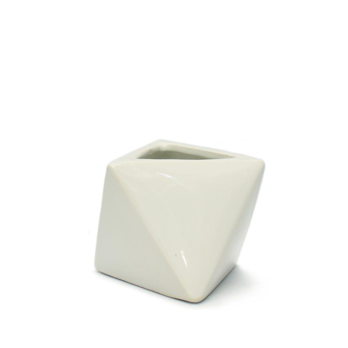 Maceta de cerámica Geométrica en forma de torre triángulo