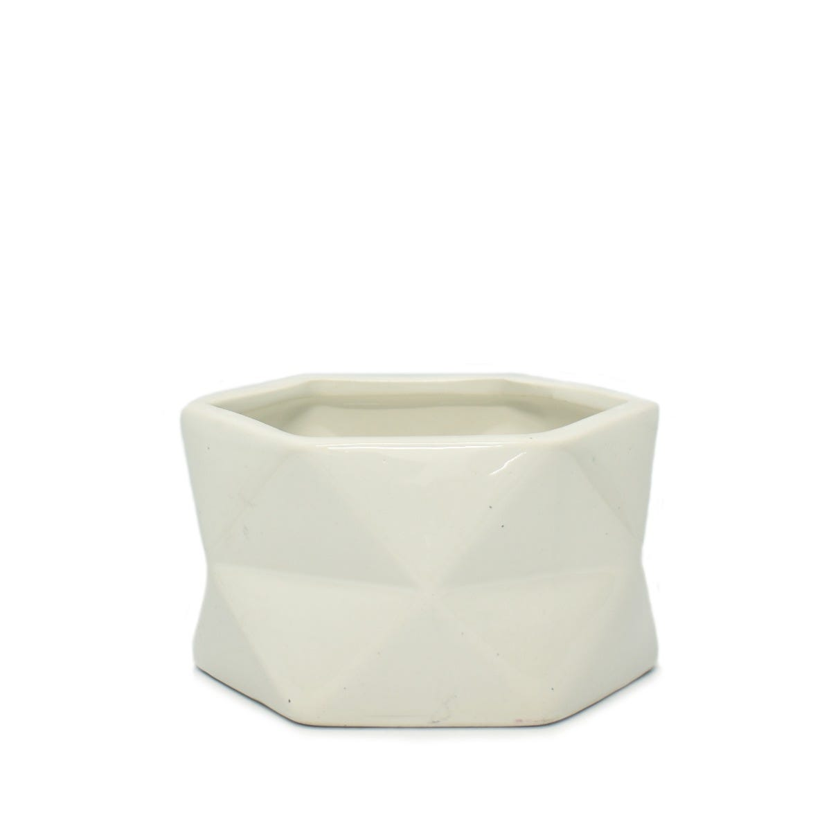 Maceta de cerámica Geométrica en forma de hexágono