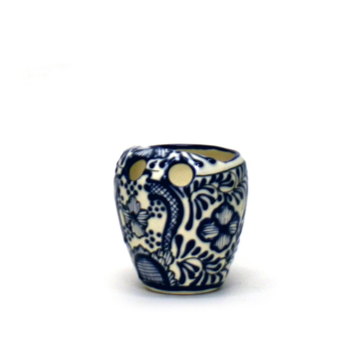 Portacepillos de cerámica Casa Mejicu con relieve color azul