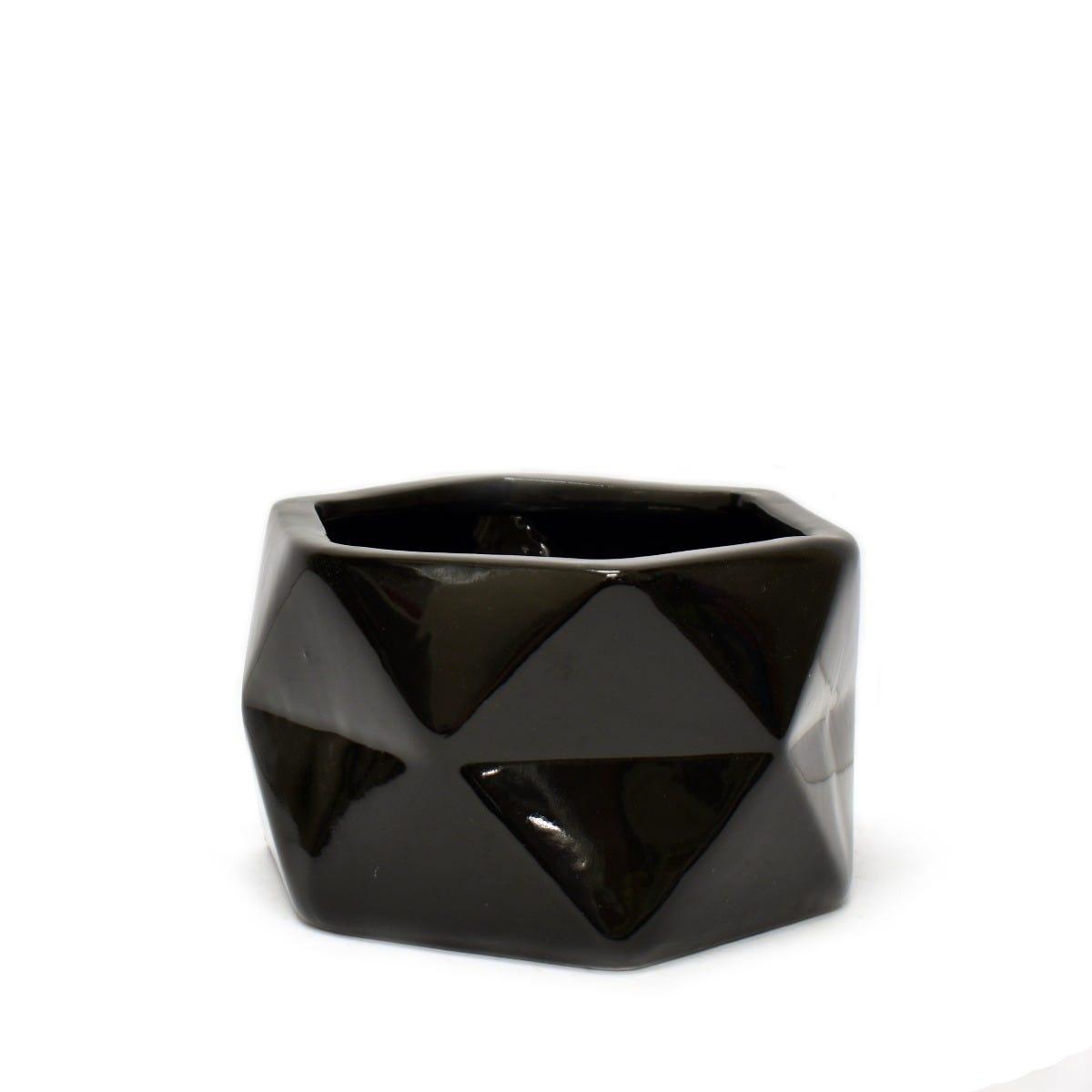 Maceta Casa Mejicu® hexagonal en negro