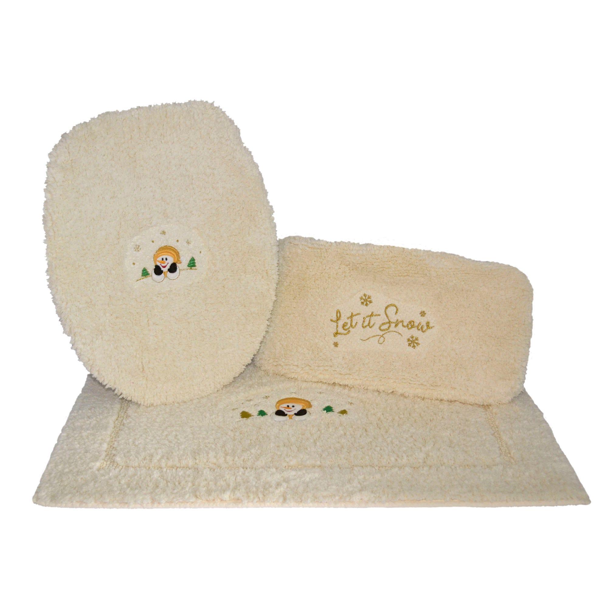 Juego de tapetes para baño Let it Snow en beige, 3 piezas