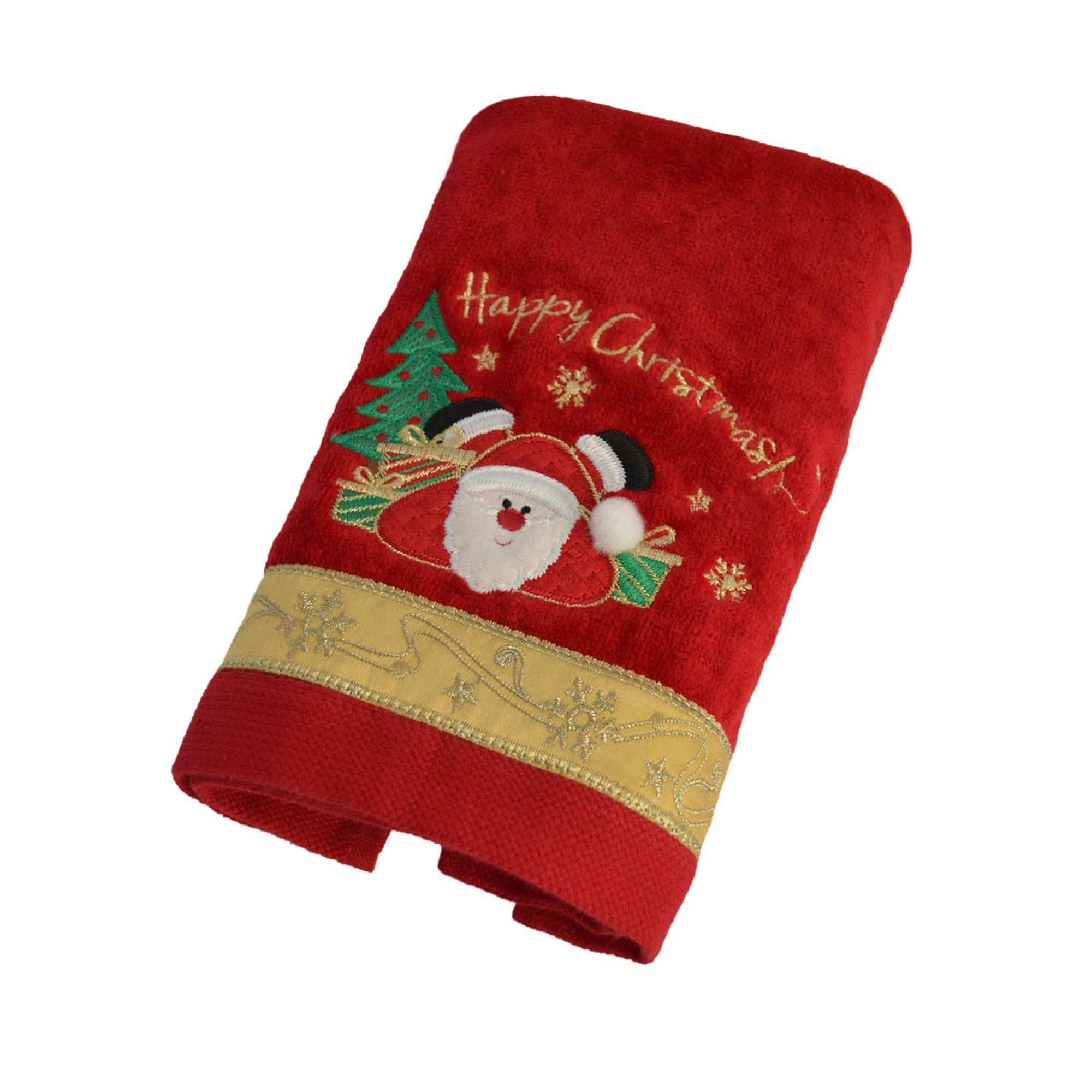 Toalla facial de algodón Happy Santa Xmas color rojo