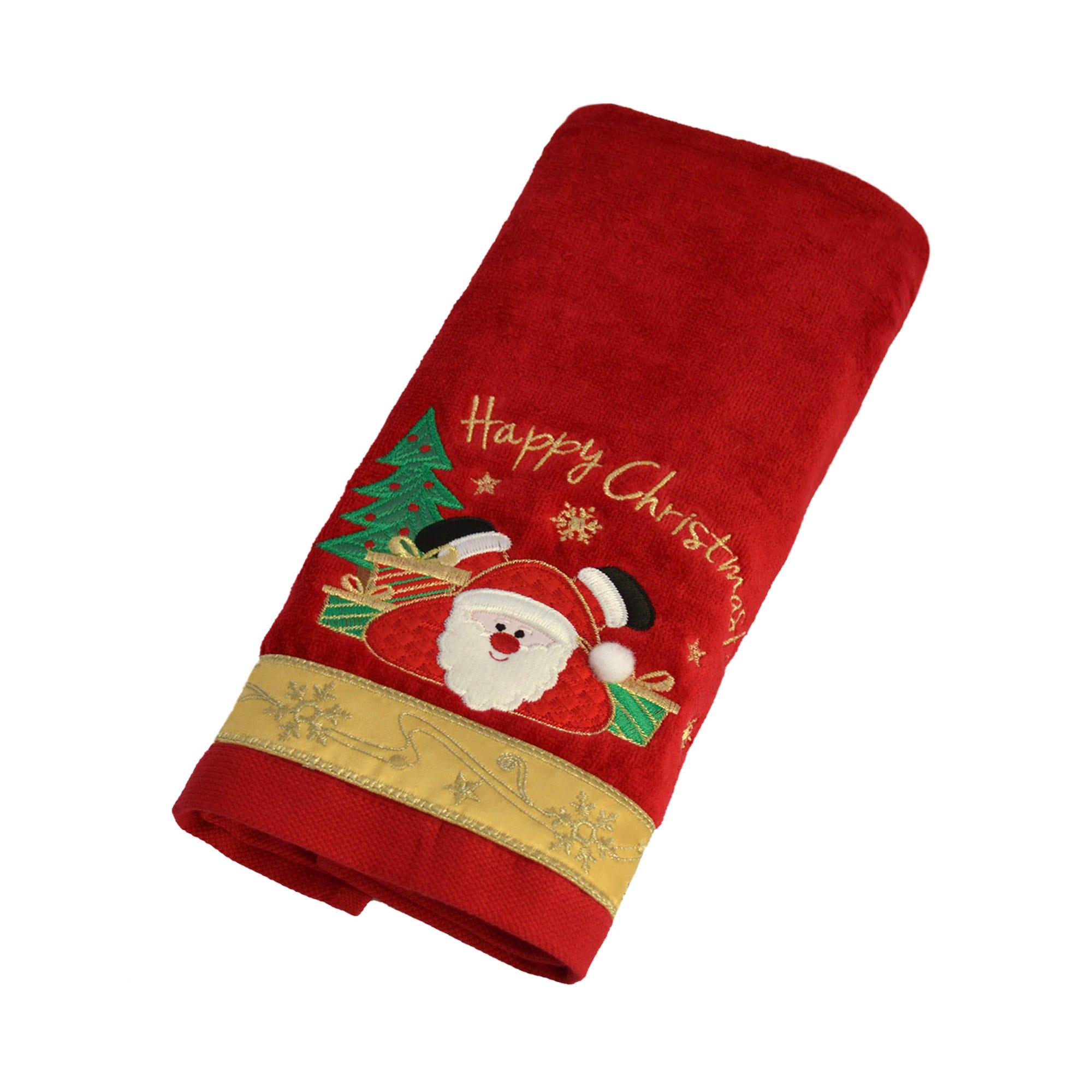 Toalla para manos Happy Santa Xmas en rojo