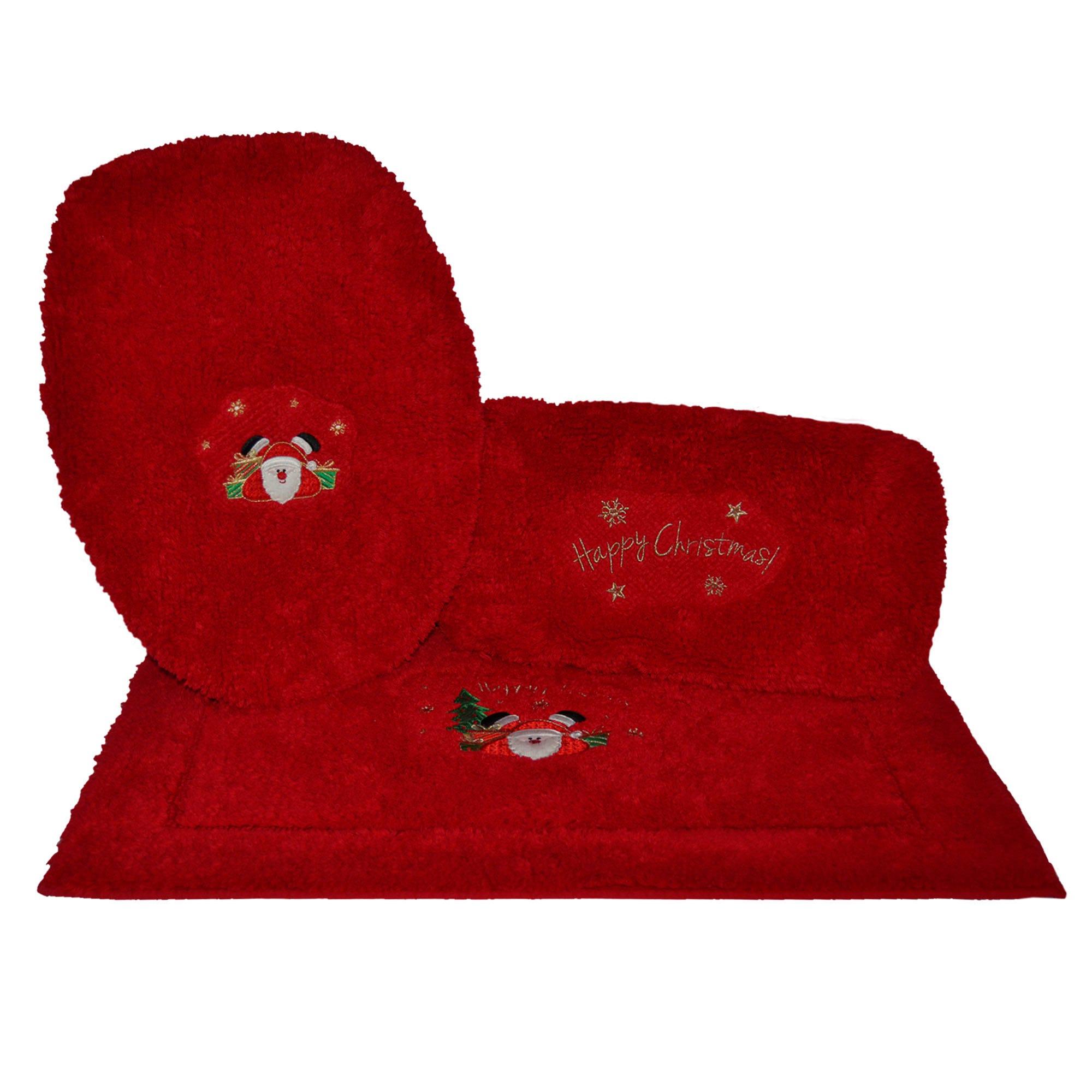 Juego de tapetes para baño Happy Santa Xmas en rojo, 3 piezas