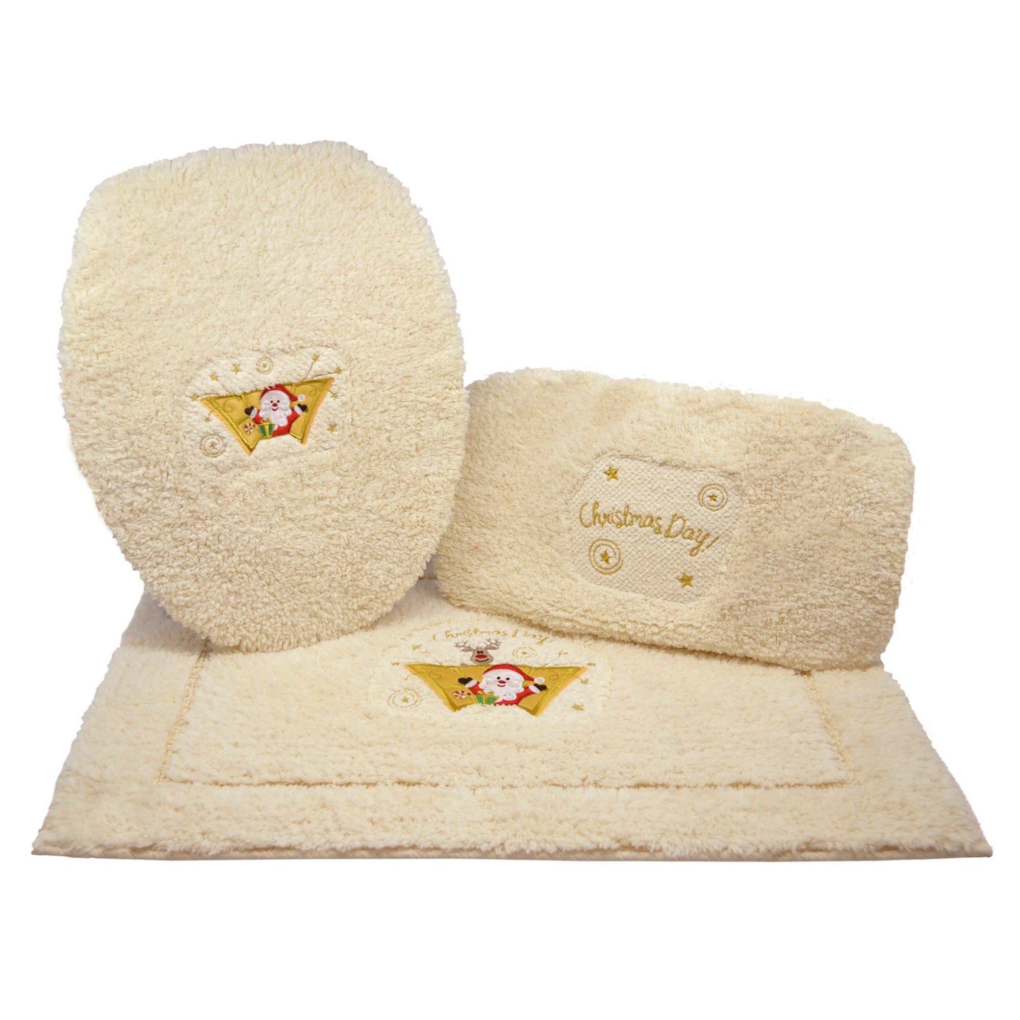 Juego de tapetes para baño Santa Day en beige, 3 piezas