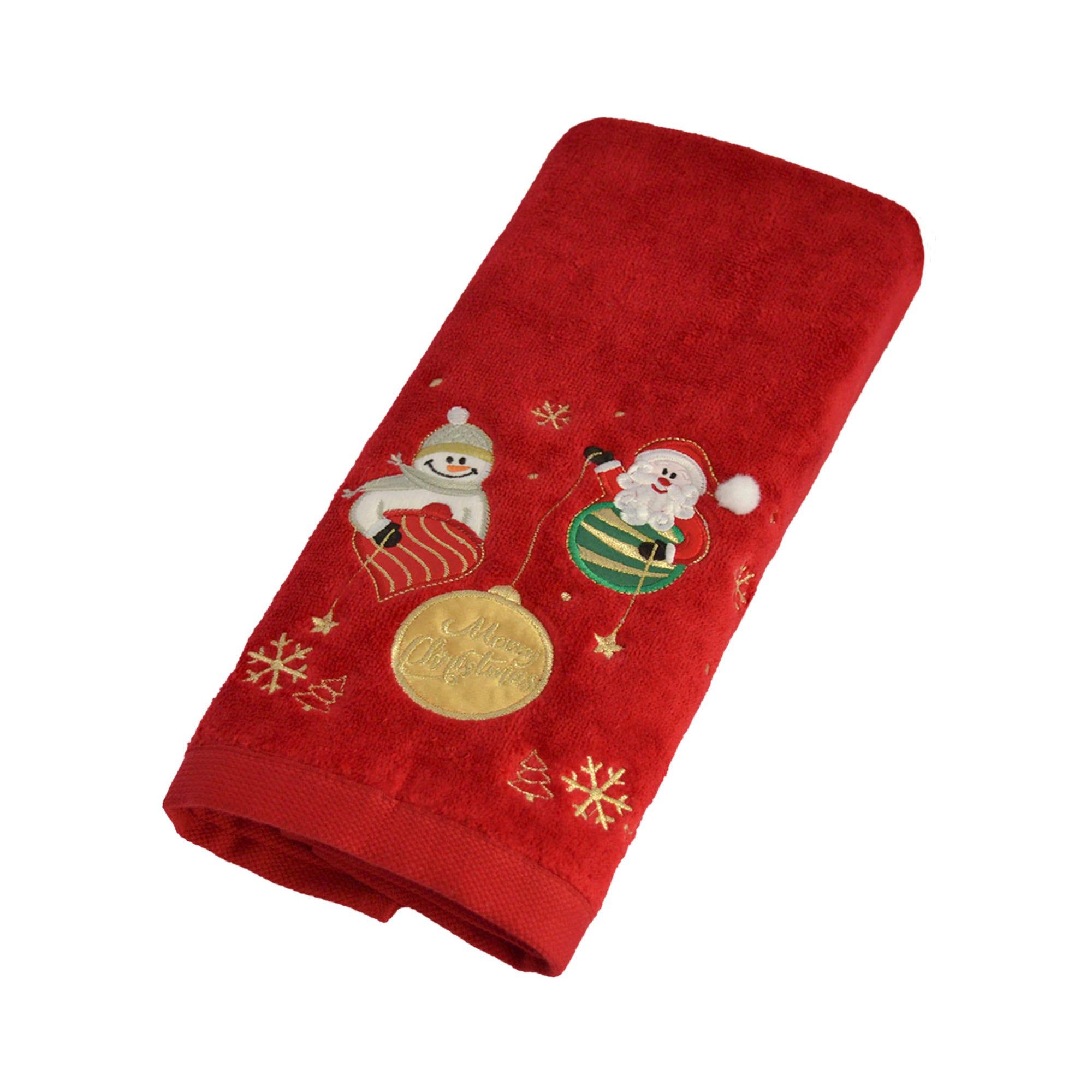 Toalla para manos Santa's Friend Snow en rojo