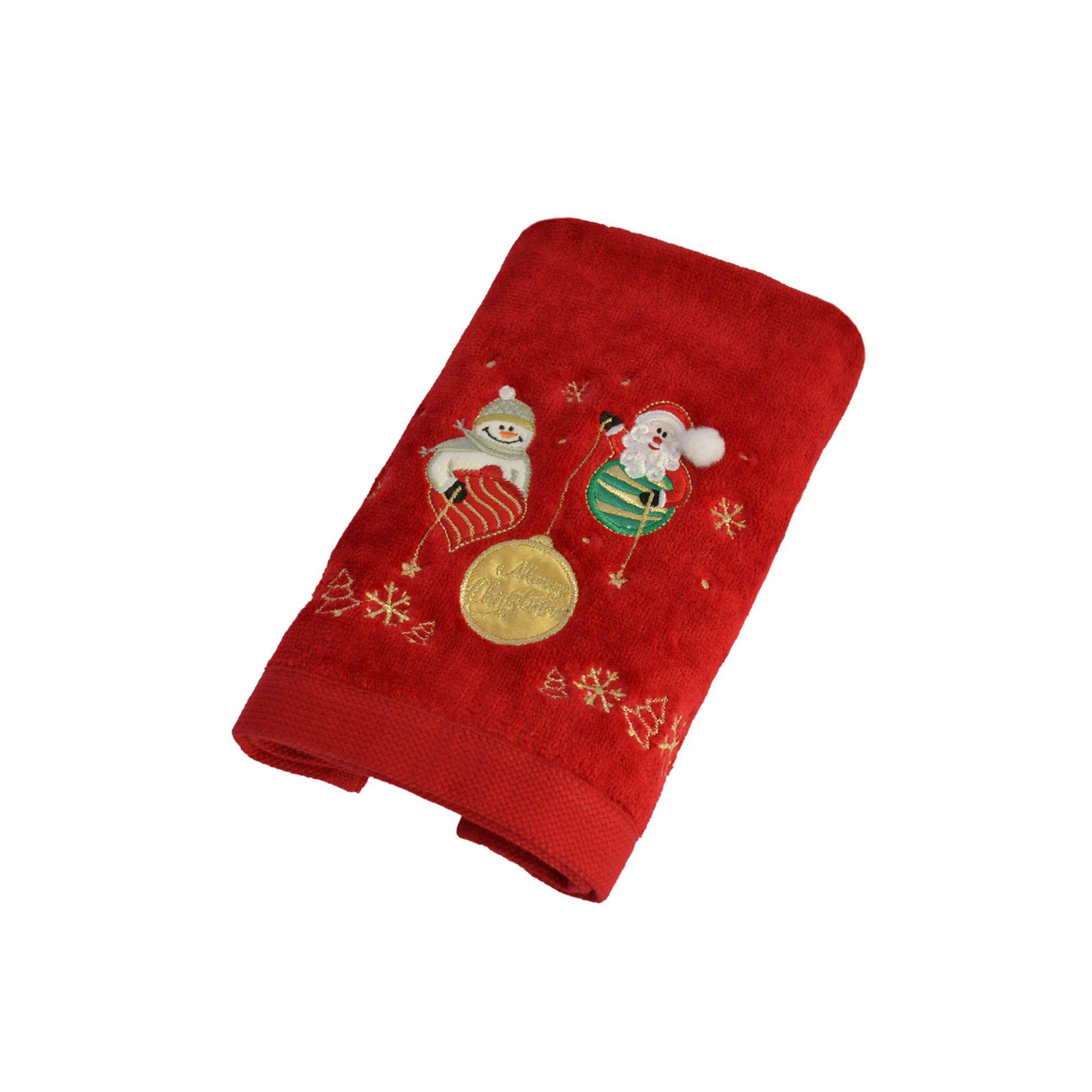 Toalla facial de algodón Santa's Friend Snow color rojo