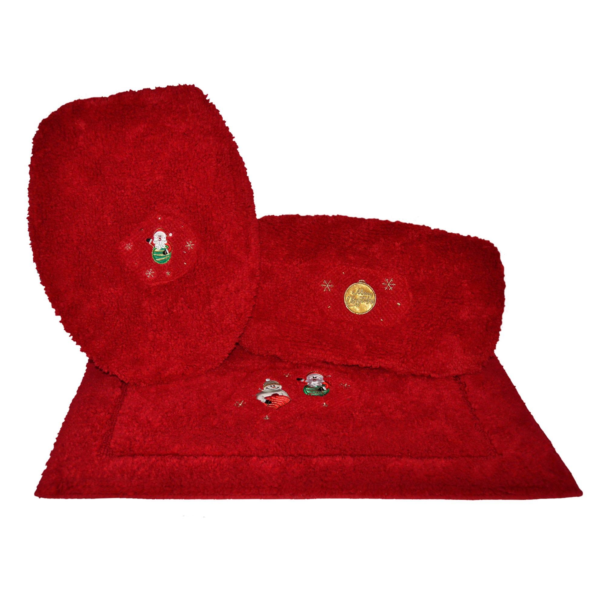 Juego de tapetes para baño Santa's Friend Snow en rojo, 3 piezas
