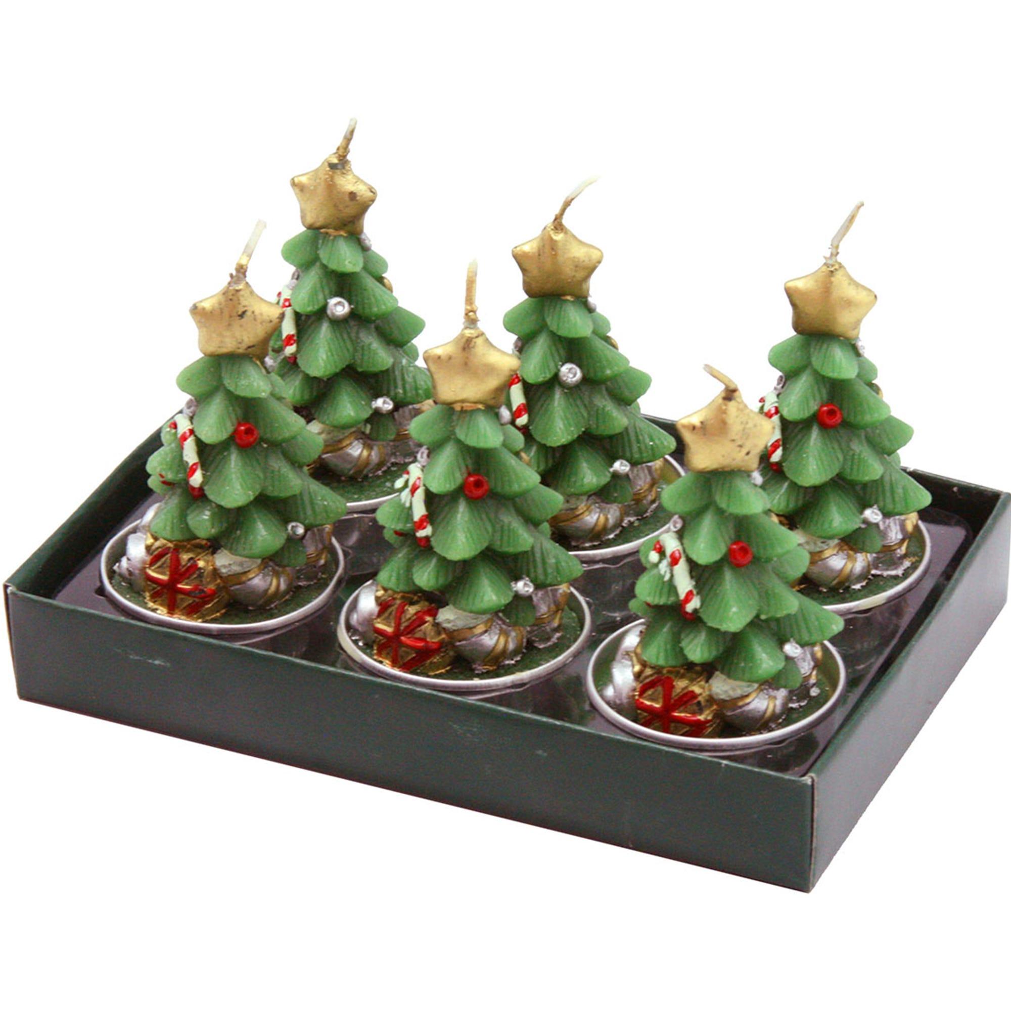 Velas en forma de árbol de Navidad Running Decora, Set de 6