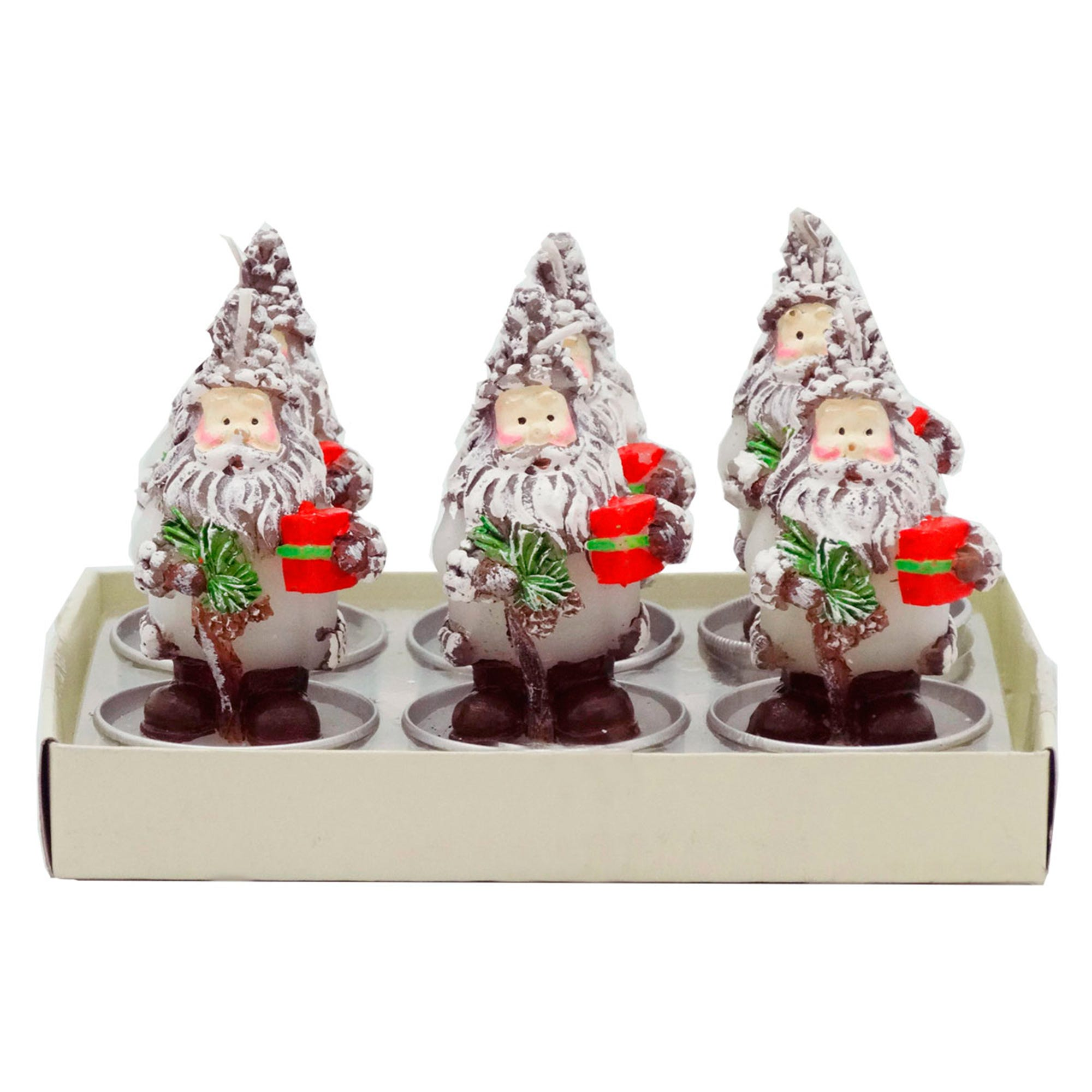 Velas navideñas Running Decora en forma de Santa, Set de 6