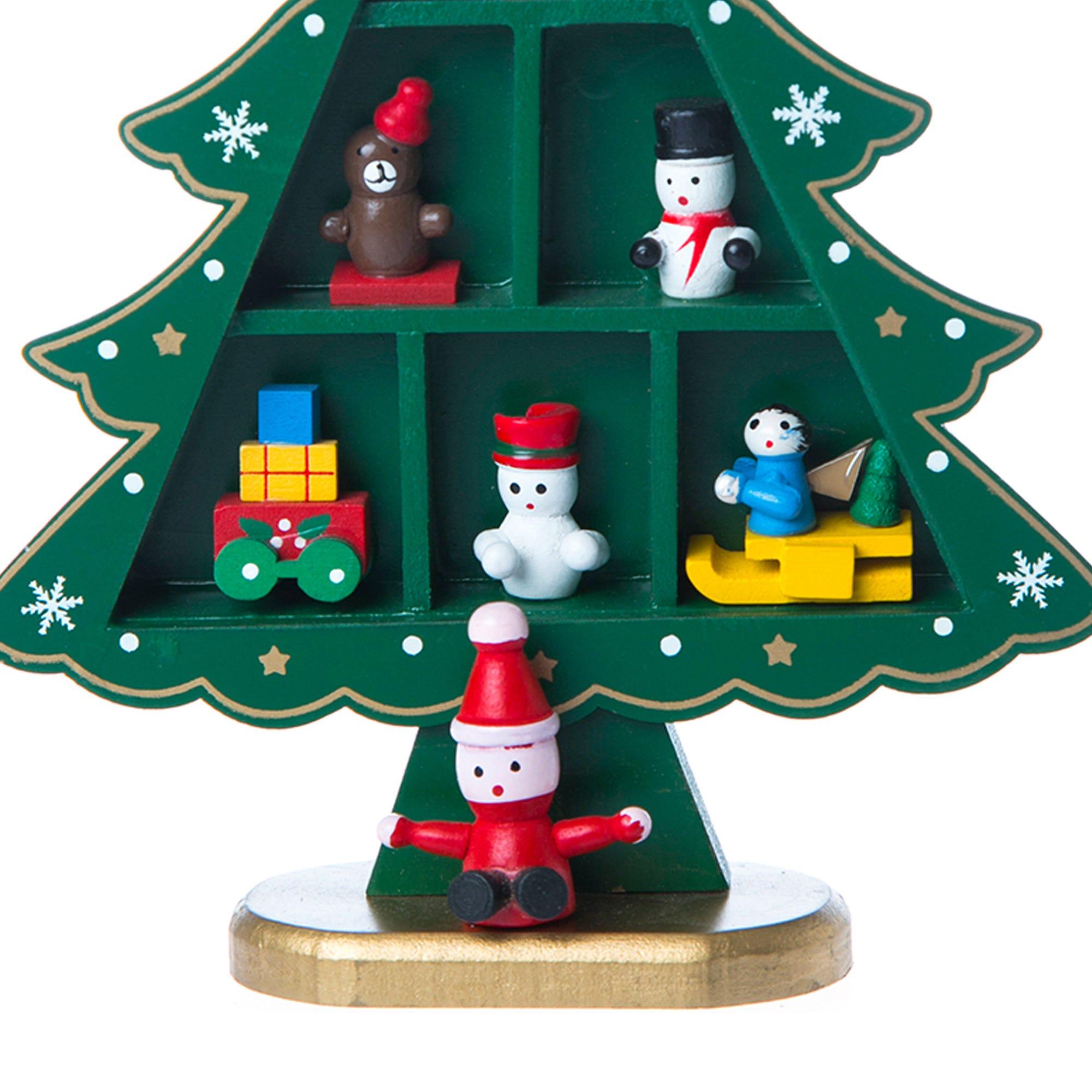 Árbol de Navidad con compartimentos/figuras decorativas en verde