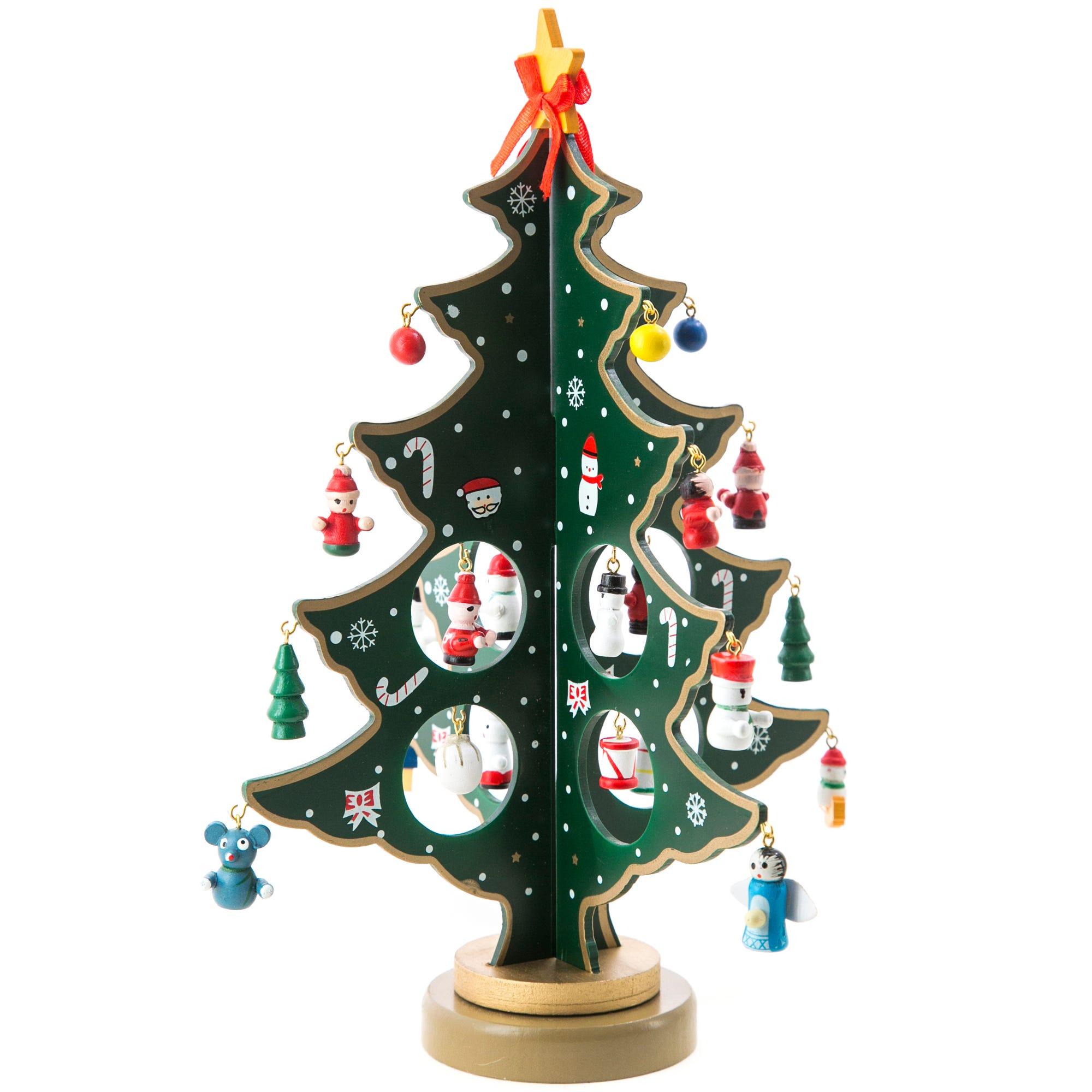 Árbol de Navidad giratorio con adornos en verde