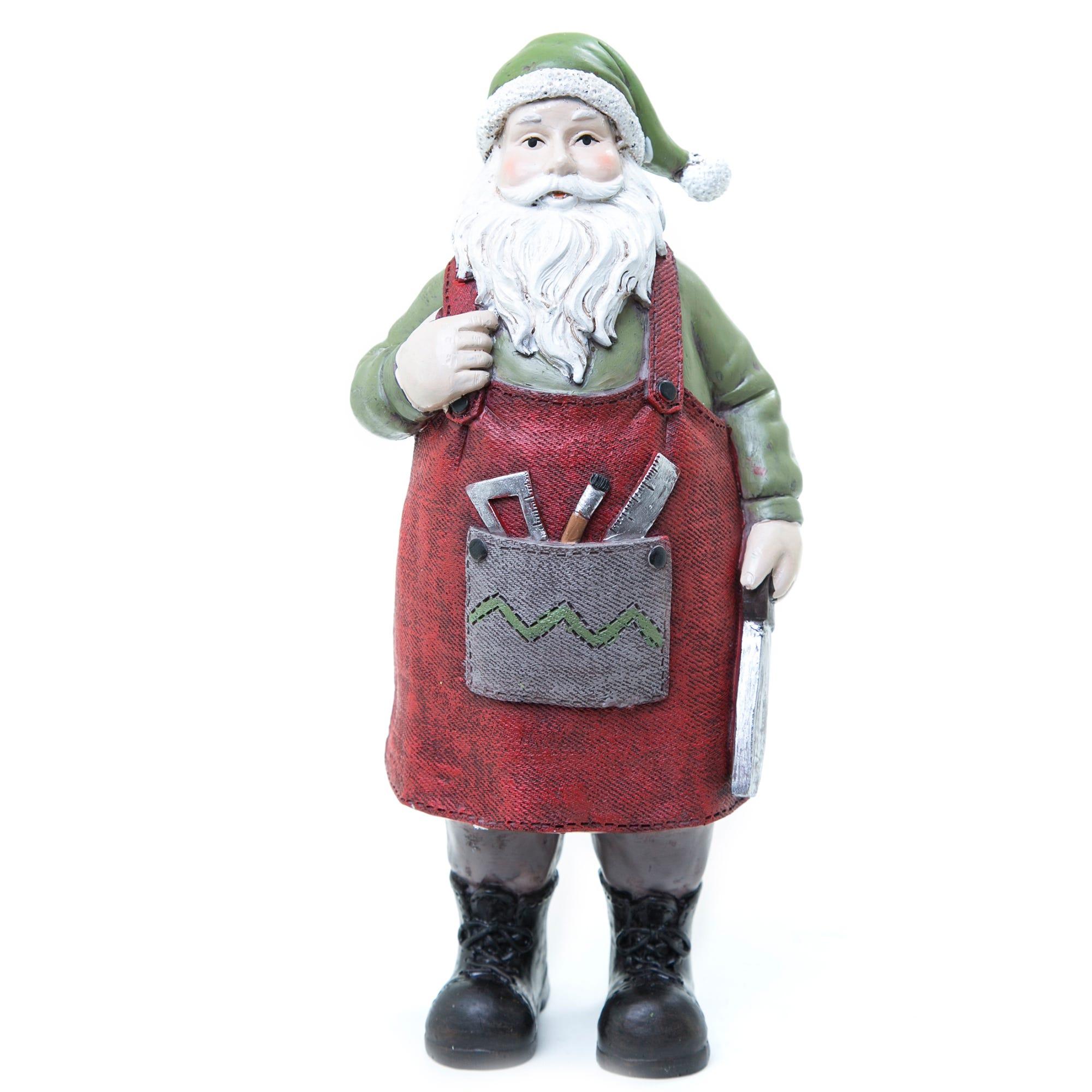 Santa Claus de polirsina con overol y herramientas