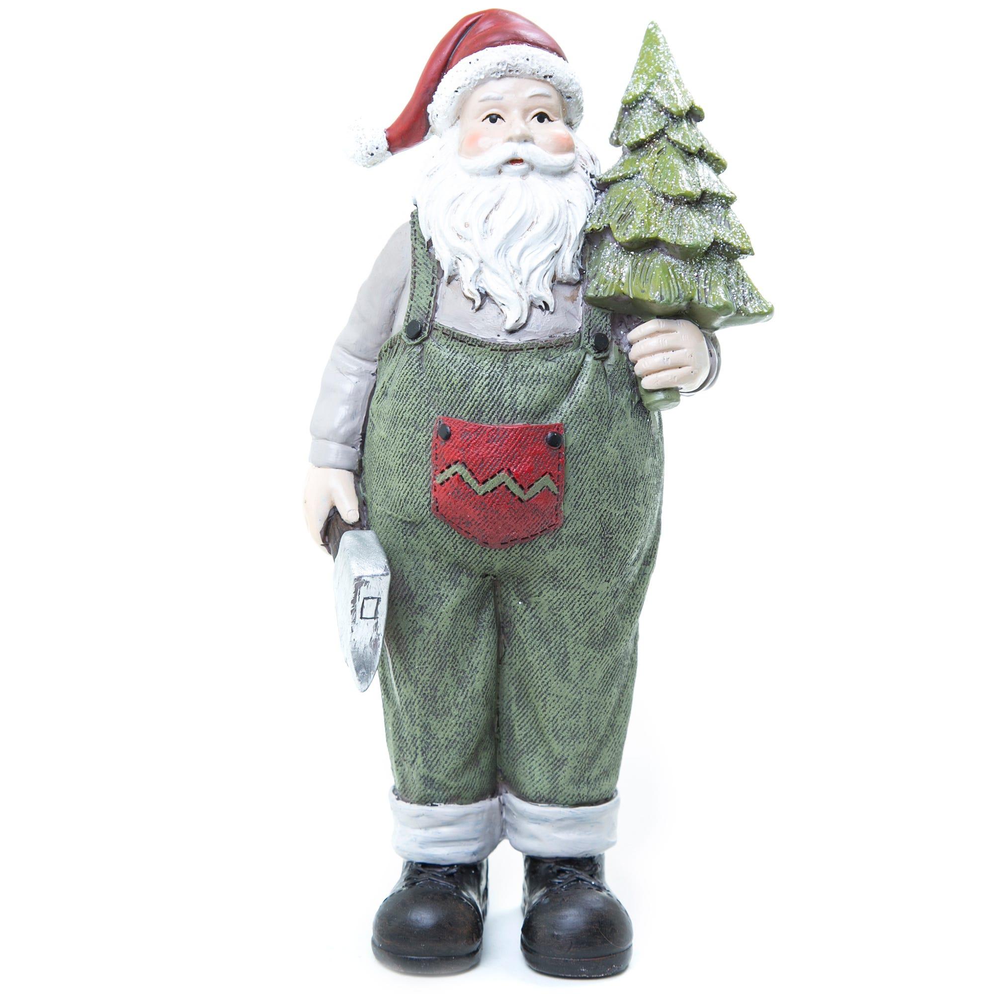 Santa Claus de poliresina con overol y árbol de Navidad