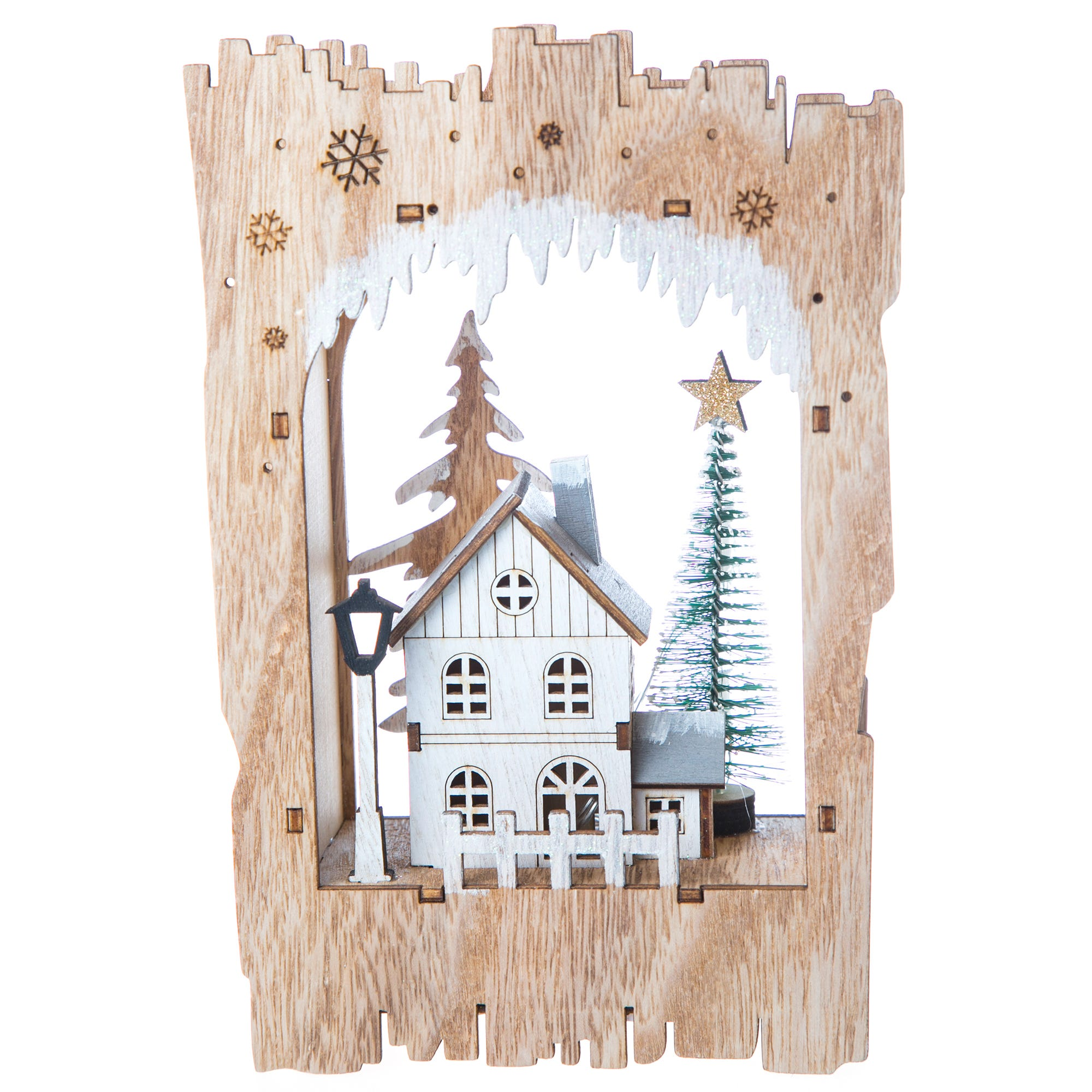 Casa navideña con luz