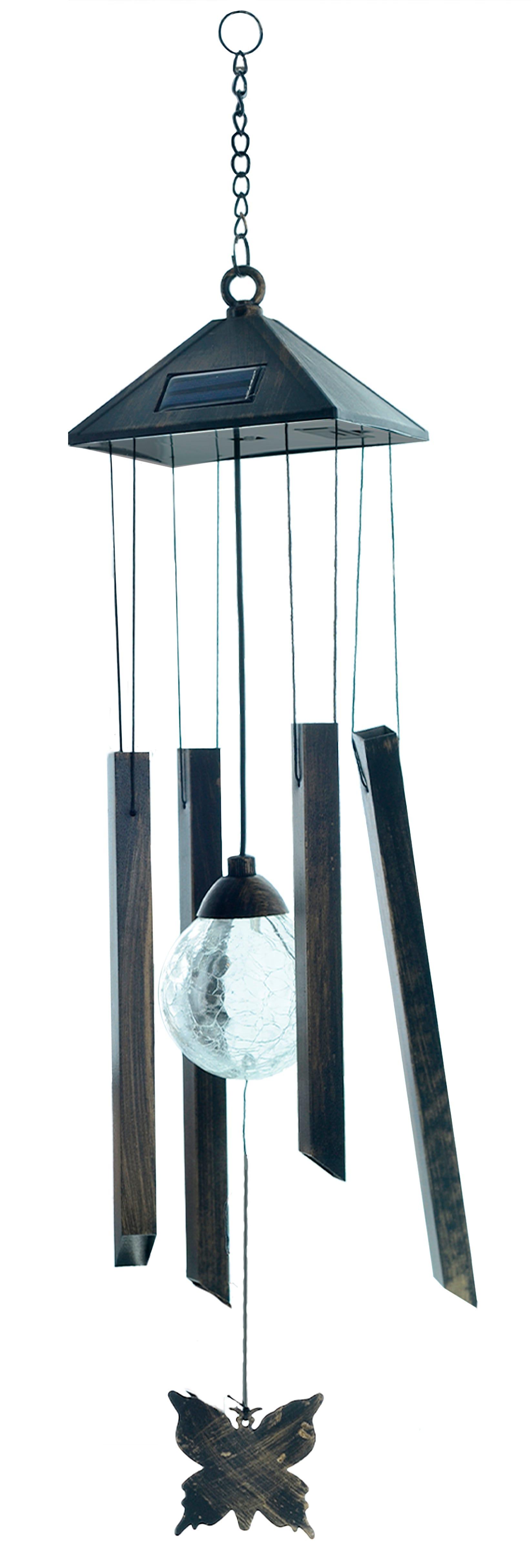 Lámpara solar Hearth & Heaven® con campana de viento en negro