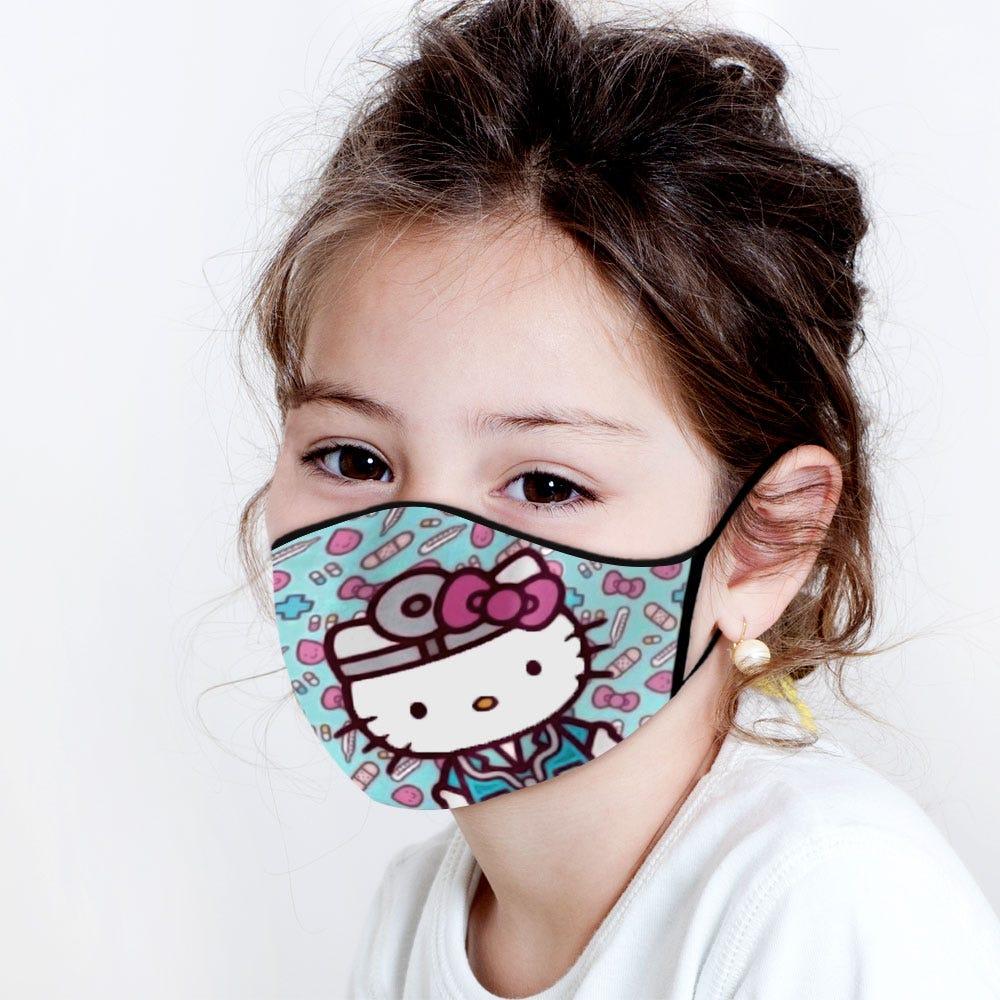 Cubrebocas infantil Blink® con diseño de Doctor Hello Kitty en azul