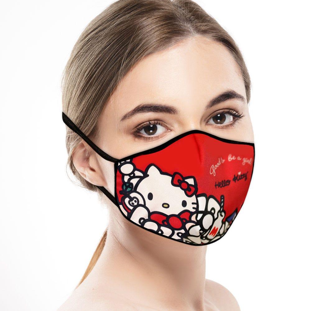Cubrebocas adulto Blink® con diseño de Hello Kitty en rojo