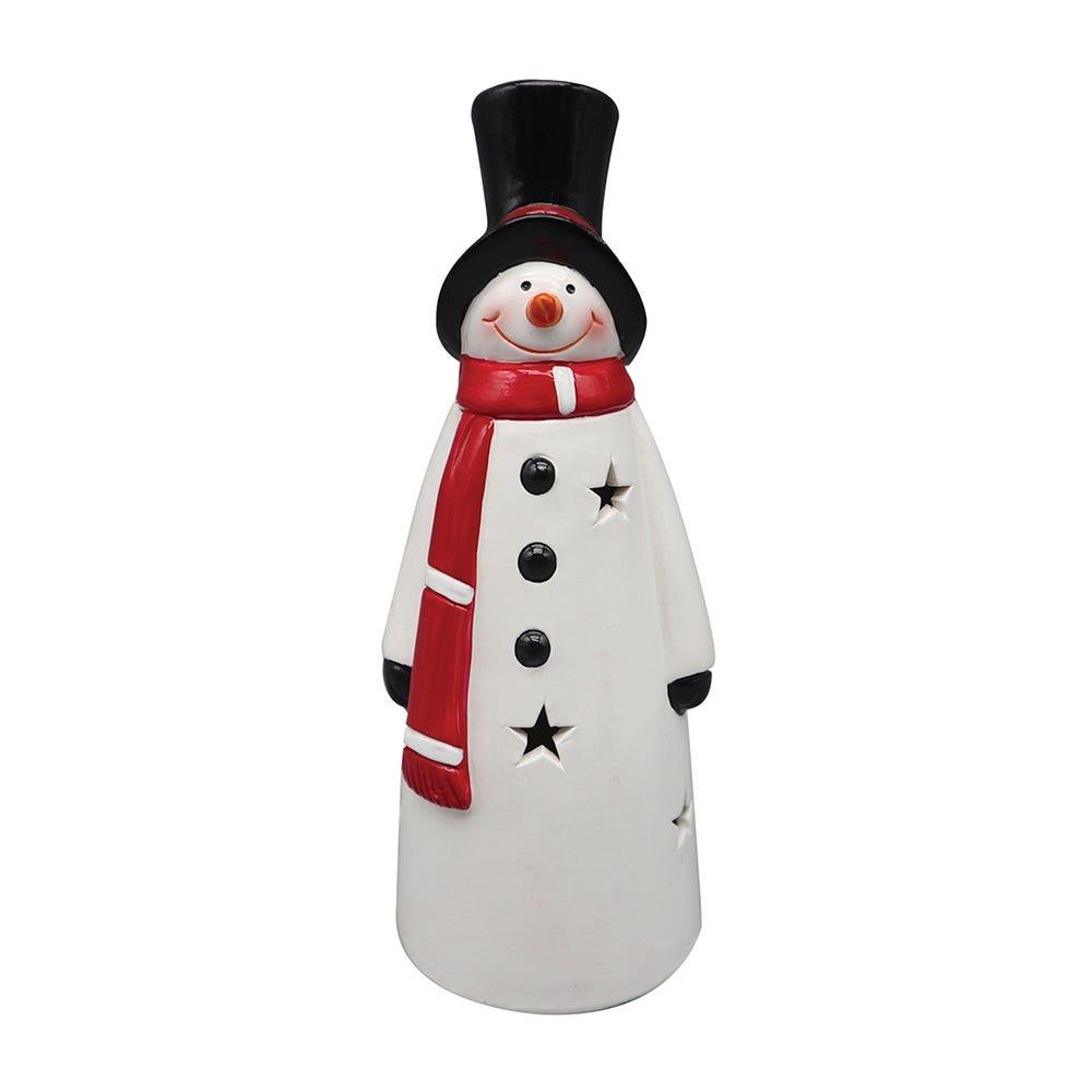 Muñeco de nieve de cerámica con luz LED