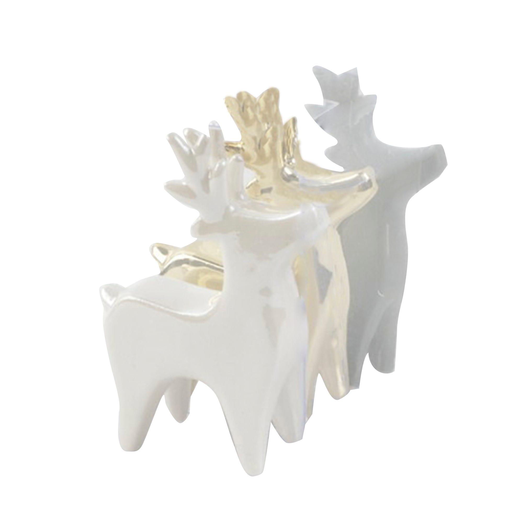 Renos decorativos de cerámica en blanco, Set de 3