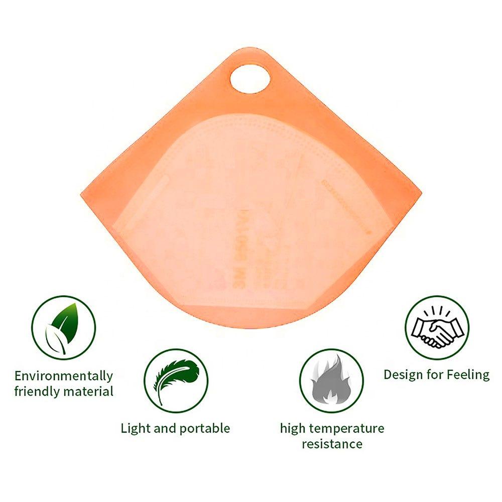 Estuche para cubrebocas Ecostyle® de silicón en naranja
