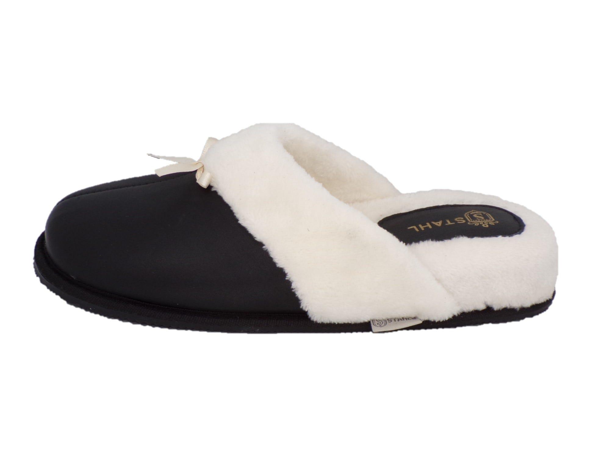 Pantuflas para mujer CH de piel Stahl® color negro, talla 24
